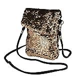 Zolimx Pailletten Handtasche Schultertasche Tote Damen Geldbörsem, Mode-Outdoor-Solid Color Doppelseitige bunte Mini quadratische Tasche Schulter Messenger Bag Handytasche (Gold)