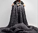 100% Merinowolle Decke handgewebte Chunky Knitted Decke sperrige Throw für Sperrige Sofa Soft Fluffy sperrige Wolle Throw , Dark gray, 130 * 170cm