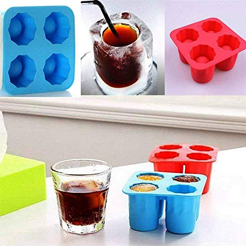 Wolblix Ice Shot Glass/Ice Cube Tray/Jelly Tray/Chocolate Mold/Silicone Ice Tray/Silicone Ice Shot Glass Mold,Jolly Rancher Cup/Candy melt-/4 Cups Square Ice Cube Tray Mould