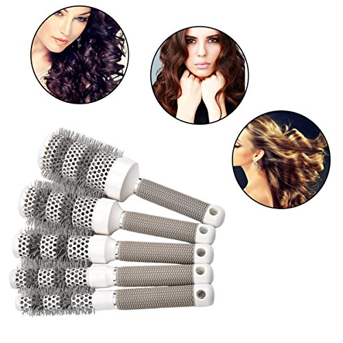 Ckeyin ® 5 misure per capelli in ceramica rotondo spazzola capelli pettine parrucchiere