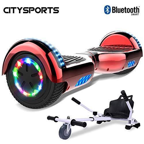 CITYSPORTS Hover Balance Board 6,5 Zoll, Elektro Skateboard Smart Scooter 2x350W mit LED- Bluetooth Armbanduhr