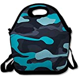 Lunch-Tasche,Soldier Green Army Camouflage Pattern Abstrakt Braun Schwarz Camo Color Combat Commando Design Isolierte Mädchen Picknicktasche Für Arbeitsschule Und Büro