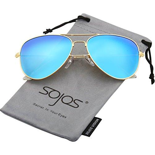 SOJOS Schick Klassische UV Schützen Polarisiert Sonnenbrille Herren SJ1054 mit Gold Rahmen/Blau Linse