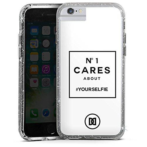 Apple iPhone 6 Plus Bumper Hülle Bumper Case Glitzer Hülle Selfie Numberone Statements Bumper Case Glitzer silber