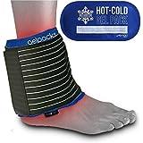 Gelpacksdirect - Bolsa de gel reutilizable para aplicar frío y calor - Con banda de compresión para el tobillo
