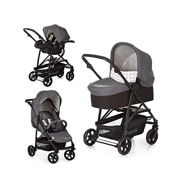 Hauck Rapid 4 X Plus Trio Set, 3-in-1 Travel System from Birth Up To 25 kg, Infant Car Seat Group 0, Carrycot and Buggy, One Hand Fold, Height-Adjustable Push Handle, Lying Position, Mickey Cool Vibes  3 in 1 stroller set. includes pushchair, carry cot and group 0+ car seat. Rapid fold system. the one hand fold system makes this pushchair ideal for shopping trips, and it folds small enough to fit in most car boot Optional isofix base.  the group 0+ car seat is compatible with the hauck comfort fix car seat base. 5