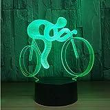 Nachtlicht Acryl LED Fahrrad 3D Led Nachtlampe Licht 7 Farbwechsel Visuelle Hologramm Decor Aaa Batterien Usb Tisch Lampara Lampe Geschenk Für Sport