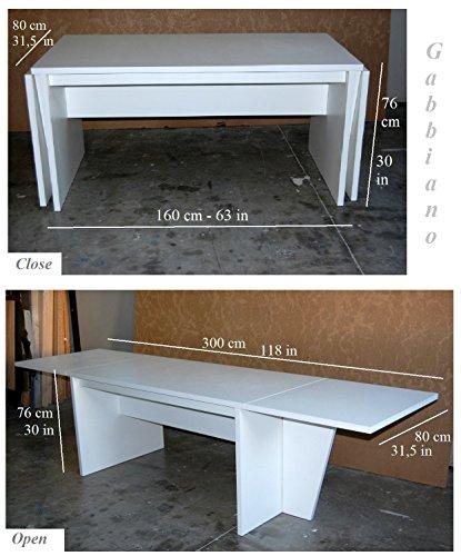 Tavolo consolle riunioni sala da pranzo allungabile 80x160/230 ...