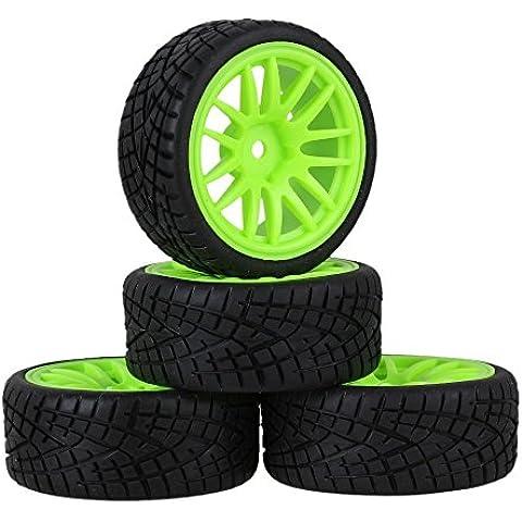Youzone Patrón de plástico verde 14 llantas de radios de rueda + Pez Negro neumáticos de caucho para RC 1:10 carretera coche de carreras de piezas de repuesto (paquete de