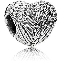 Corazón del ala del ángel Wostu en 925 cuentas de plata de ley colgante para pulsera de la amistad