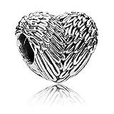 wostu Cœur aile d'ange en argent 925Perles en argent sterling Charme pour bracelet d'amitié avec