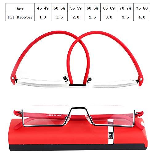Gafas de lectura de media llanta con estuche de almacenamiento Diseño ligero resistente resistente de TR90 Hombres Mujeres Presbicia Gafas Dioptrías +1.0 +1.5 +2.0 +2.5 +3.0 +3.5 +4,0,2.0