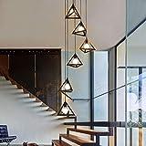 Luminaire suspendu, lustre vintage en escalier en fer forgé, lustre long d'escalier en colimaçon en duplex de villa, support de lampe E27...