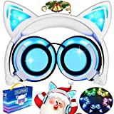 AMENON Katzenohren Kopfhörer Kinder Kopfhörer Blinken Glühende Cosplay Fancy Over-Ear Gaming Headset mit LED-Licht für Mädchen Kinder kompatibel für iPhone 6S Android Handys