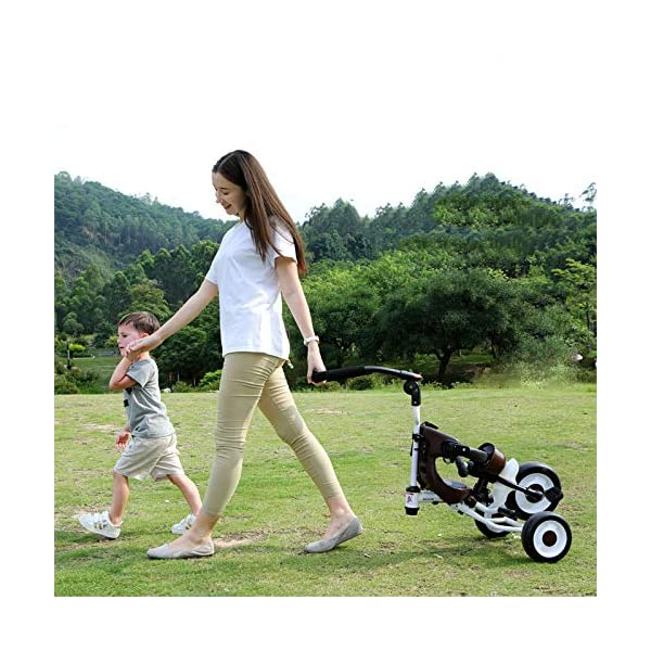 BGHKFF 4 In 1 Childrens Folding Tricycle 5 Months To 5 Years Silent Blockable Rear Wheels Childrens Tricycles Folding Sun Canopy Push Handle Child Trike Maximum Weight 60 Kg,Blue BGHKFF ★ 4-in-1 multi-function: convertible into stroller and tricycle. Remove the guardrail and awning as a tricycle. ★Material: Thick carbon steel, suitable for children from 5 months to 5 years old, maximum weight: 60 kg ★ Tricycle foldable, space saving, easy to carry, great gift: perfect gift for children's birthday or Christmas. Easy to assemble When you don't use it, you can fold it and store it in any corner. 6