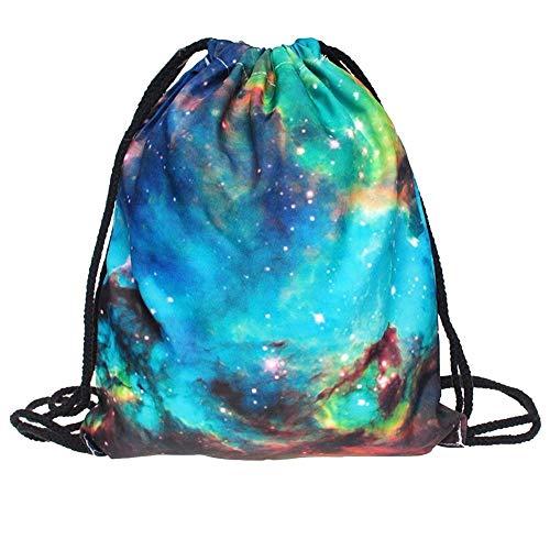 YWLINK Retro Mode Frauen Leinwand Tasche Rucksack Sport 3D Bunt Komisch Sternenhimmel Drucken Kordelzugbeutel Studententasche Rucksackhandtaschen Alltagstasche