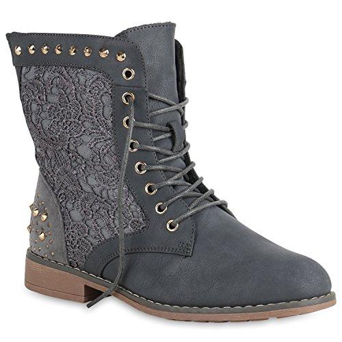 Gefütterte Schnürstiefeletten Damen Schuhe Stiefeletten Spitze Nieten 151201 Grau 39 Flandell