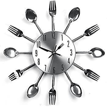 yhanonal wall clock cutlery kitchen fork knife creative