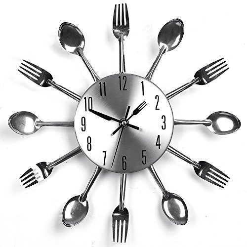 YHANONAL Wall Clock Cutlery Kitchen Fork Knife Creative Novelty Hang Clock Sliver Decorative For Modern Home Office Club
