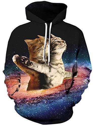 Spreadhoodie 3D Gedruckte Pullover für Herren Damen Coole Galaxy Katze Muster Pullover Hoody Rundhalsausschnitt Sweatshirts mit Fleece Nickerchen Blau XL M