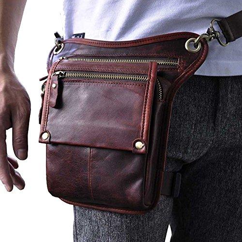 Genda 2Archer Utility Cross Over Tasche Leder Taille Bein Tasche (Braun 2) Rot Braun