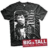 Photo de Jimi Hendrix Officiellement sous Licence Distressed Grand & Gros T-Shirt pour Hommes (Noir) par Jimi Hendrix
