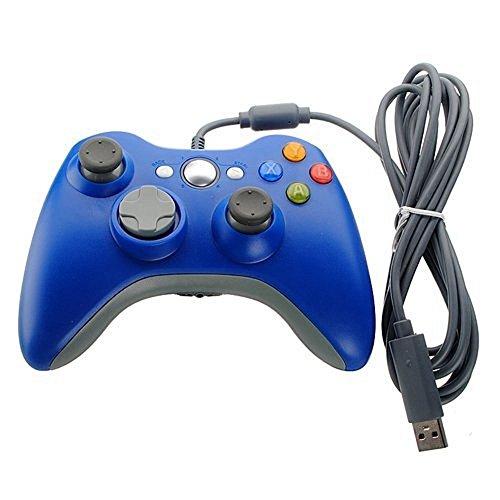Xbox 360 Controller, Stoga Kabelgebundene USB Gamepad Controller für Microsoft Xbox 360 PC Windows7/8/8.1/10 (blau) (Crash Bett Pad)