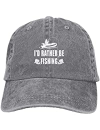 jinhua19 ID Rather Be Fishing Denim Hat Adjustable Mens Great Baseball Caps