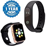 Drumstone Smart Fitness Band With Heart Rate Sensor/Pedometer/Sleep Monitoring Functions With A1 Bluetooth Smart Watch Sport SIM Card And TF Card With Camera Compatible With Xiaomi, Lenovo, Apple, Samsung, Sony, Oppo, Gionee, Vivo Smartphones (One Year Wa