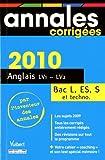 Anglais LV1 LV2 Bac séries L, ES, S et techno 2010