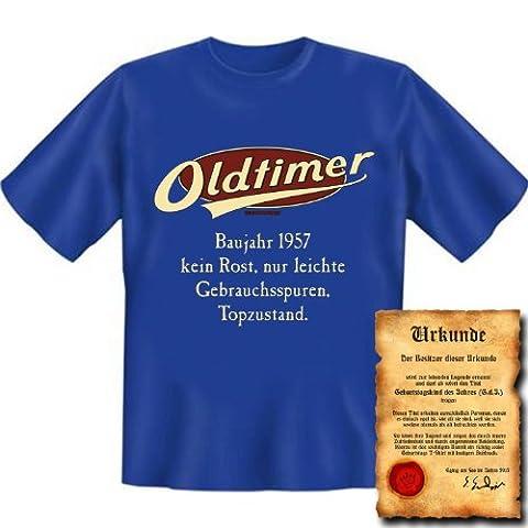 zum 60. Geburtstag Set T-Shirt und Urkunde - OLDTIMER BAUJAHR 1957 - kein Rost nur leichte Gebrauchsspuren Topzustand Gr: L in royal-blau : )