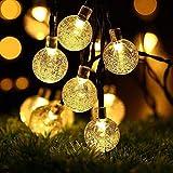 LEDGLE Guirlande Lumineuse Boules Solaire Extérieure, 30 LED 6M Luminaires Extérieur Imperméable pour Noël, 8 Modes, Blanc Chaud