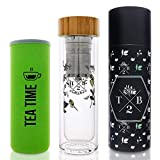2-in-1 Fruit Infuser und Teeflasche Glas doppelwandig isoliert als Trinkflasche mit Blumenmuster, Teesieb und Neoprenhülle, to-go für Tee, Früchte und Detox-Wasser, BPA frei