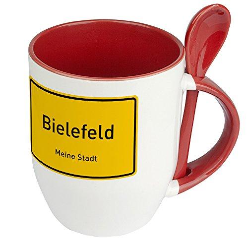 Städtetasse Bielefeld - Löffel-Tasse mit Motiv Ortsschild - Becher, Kaffeetasse, Kaffeebecher, Mug - Rot
