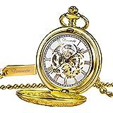 TREEWETO Unisex Taschenuhr mit Kette Analog Handaufzug Antik Graviert Römische Gold