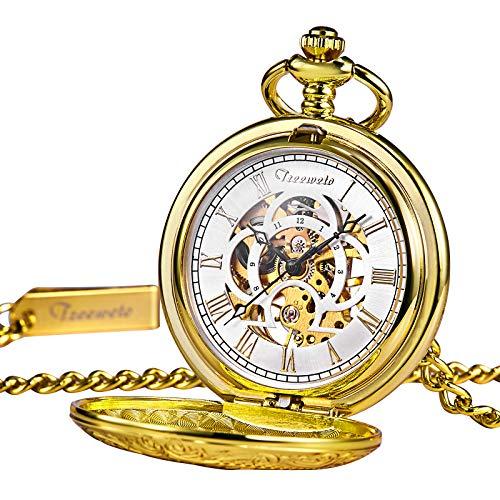 TREEWETO taschenuhr mit Kette Gold graviert gehäuse römische ziffern Retro Uhr taschenuhren mechanisch Pocket Watch