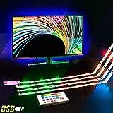 Retroiluminación LED de TV, 2M RGB USB llevado luces de neón de la tira con control remoto para HDTV, iluminación Bias