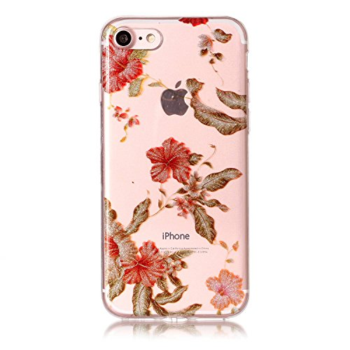 iPhone 8 Hülle,iPhone 7 Hülle,iPhone 7/8 Silikon Hülle [Kratzfeste, Scratch-Resistant],SainCat Karikatur Katze Blumen Muster Ultra dünne Silikon Hanyhülle Durchsichtig Transparent Schutzhülle Stoßdämp Azaleen