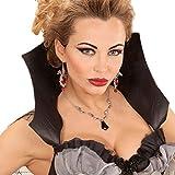 Amakando Gothic Halskette Halloween Halsschmuck Vampir Schmuckkette Fledermauskette Halsband Collier Vampirin Fledermaus Kette mit Juwel