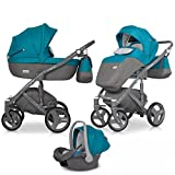 Riko Kinderwagen Kombi 3in1 Vario Komplettset Baby 0-36 Monate, Farbe Adriatic Blau