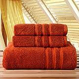 Hamaswan - Set di Asciugamani da Bagno in Cotone Spesso e Spesso, 3 Pezzi, Colore: Arancione Scuro