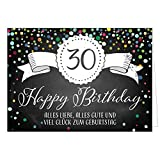 Große Glückwunschkarte XXL (A4) zum 30. Geburtstag - Tafel-Look Konfetti/mit Umschlag/Edle Design Klappkarte/Glückwunsch/Happy Birthday Geburtstagskarte/Extra Groß/Edle Maxi Gruß-Karte