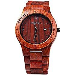 Bewell ZS - W086B Männer Holz Bangle Quarz Uhr mit Kalender Anzeige