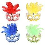 Jannes 2181 Venezianische Maske Mini mit Feder Maske Venedig Venezianisch venezianischer Karneval Pestmaske Maskenball Venezia Vogelmaske Einheitsgröße Grün