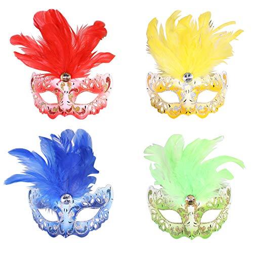 Jannes 2181 Venezianische Maske Mini mit Feder Maske Venedig Venezianisch venezianischer Karneval Pestmaske Maskenball Venezia Vogelmaske Einheitsgröße ()