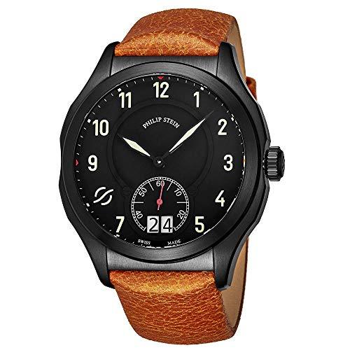 Philip Stein Men's 47mm Calfskin Band Steel Case Swiss Quartz Watch 17BSBKLVCM