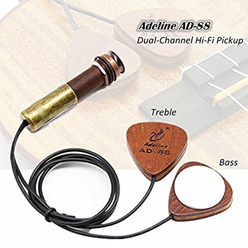 Dual Kirschholz (Ad-88 Dual-Channel akustische Gitarre Ukelele Pickup, Cherry Wood Instrument amp Wandler für akustische Violine Ukulele)