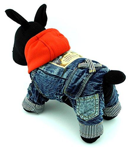 zunea Denim Kleine Hunde Overall Fleece Kapuzen Pet Schneeanzug Schlafanzüge Puppy Cat Fell/Jacke Cowboy Doggy Outfits Kleidung (Kleidung Schlafanzug Hund Thermische)