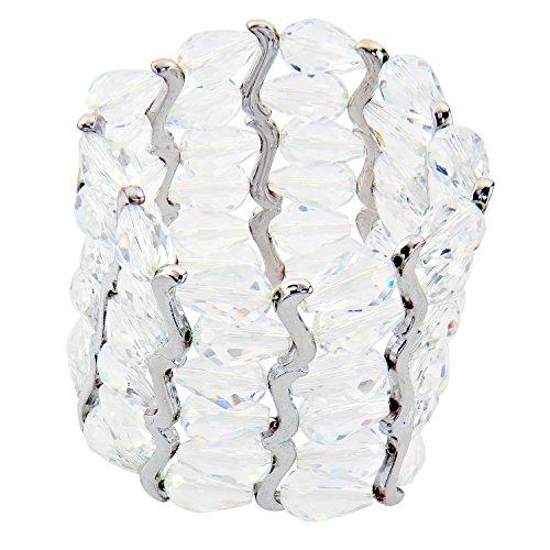 Sarah Kern Damen Flex Armband rhodiniert mit Kristallen weiß