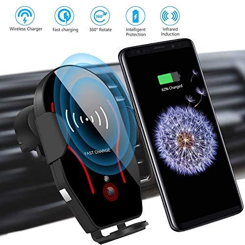Linkstyle Wireless Kfz-Ladegerät Halterung Air Vent Handyhalter, Halterung für Autotelefon Belüftung Automatische Klemmung, Schnellladung Kompatibel mit iPhone XR/XS/X Plus/Galaxy S9 / S8 Plus
